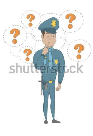 Caucásico policía mujer pensando pie signos de interrogación Foto stock © RAStudio