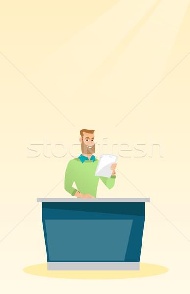 Television anchorman in the studio. Stock photo © RAStudio
