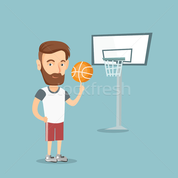 Hipster basketball player spinning a ball. Stock photo © RAStudio
