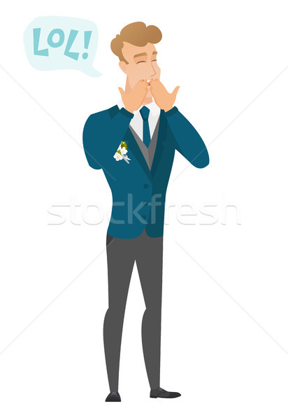Young caucasian groom laughing out loud. Stock photo © RAStudio