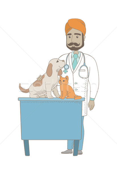 молодые индийской ветеринар домашние больницу Сток-фото © RAStudio