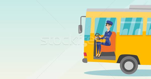 Caucásico autobús conductor sesión volante jóvenes Foto stock © RAStudio