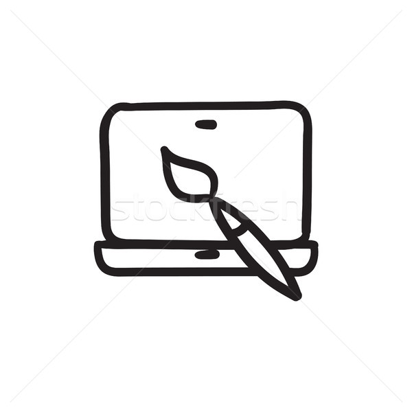 Laptop and brush sketch icon. Stock photo © RAStudio