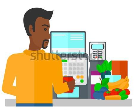 Mérnök áll irányítópanel férfi dolgozik kisajtolás Stock fotó © RAStudio