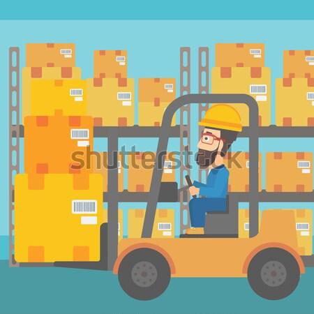 Magazijn werknemer bewegende laden heftruck vrachtwagen Stockfoto © RAStudio