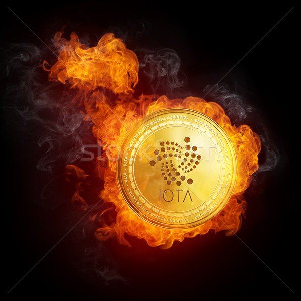Golden IOTA coin falling in fire flame. Stock photo © RAStudio