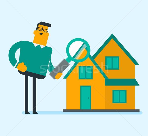 Caucasian white businessman looking for a house. Stock photo © RAStudio