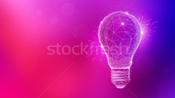 Veelhoek idee gloeilamp veelkleurig wazig helling Stockfoto © RAStudio