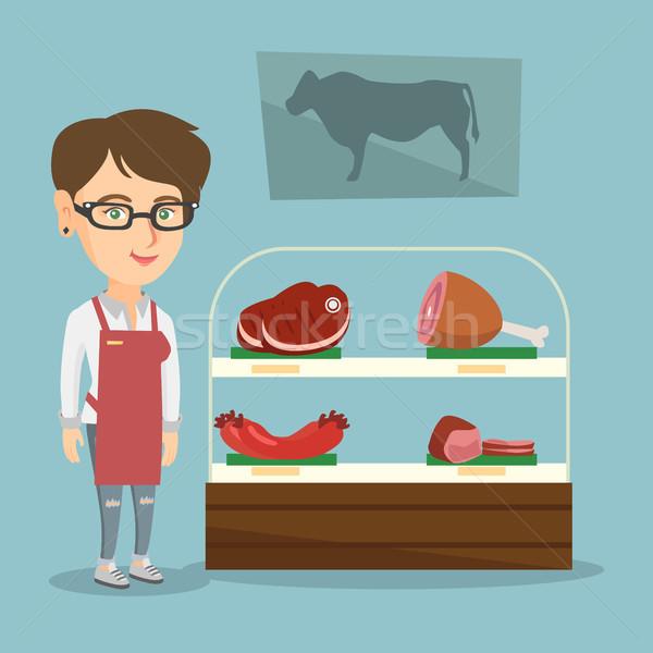 肉屋 提供すること 新鮮な 肉 ショップ 小さな ストックフォト © RAStudio