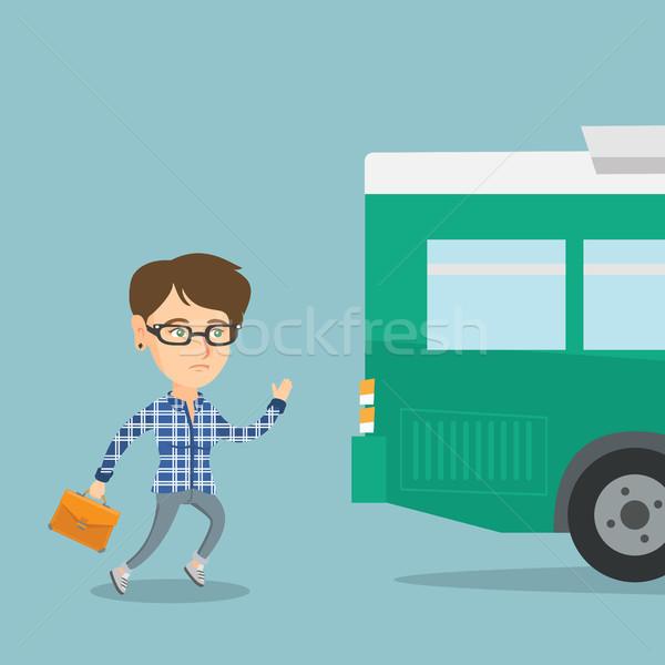 Caucasian latecomer woman running for the bus. Stock photo © RAStudio