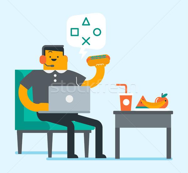 Lazy caucasian white man using a laptop. Stock photo © RAStudio