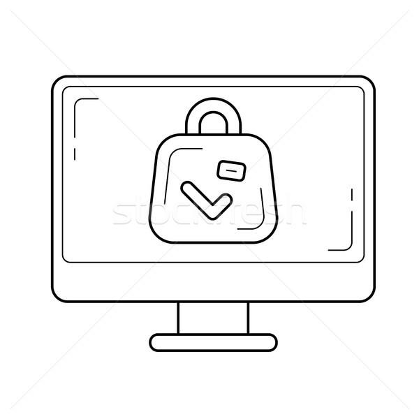 Lotniska skaner line ikona wektora odizolowany Zdjęcia stock © RAStudio