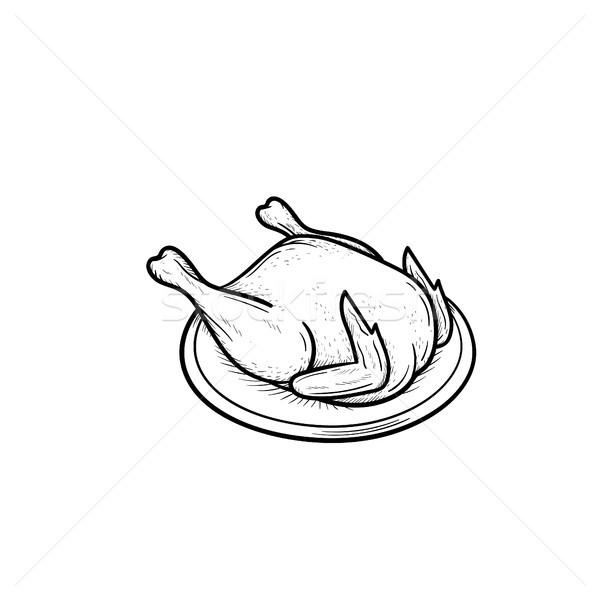 приготовленный куриные рисованной эскиз икона Сток-фото © RAStudio