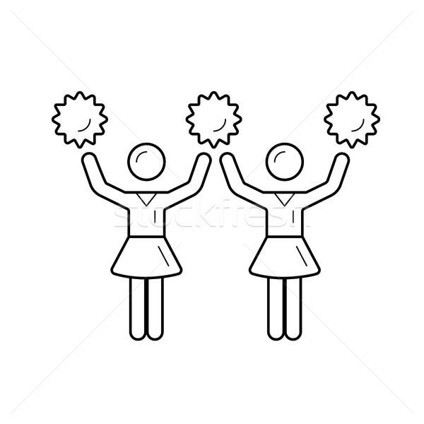 Cheerleader women with pom-pom vector line icon. Stock photo © RAStudio