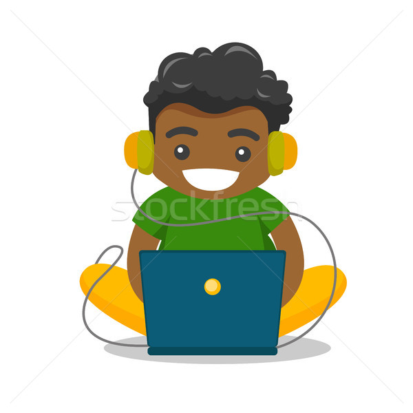 African-american fat boy sitting with laptop. Stock photo © RAStudio