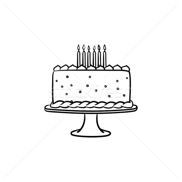 Birthday cake hand drawn sketch icon. Stock photo © RAStudio