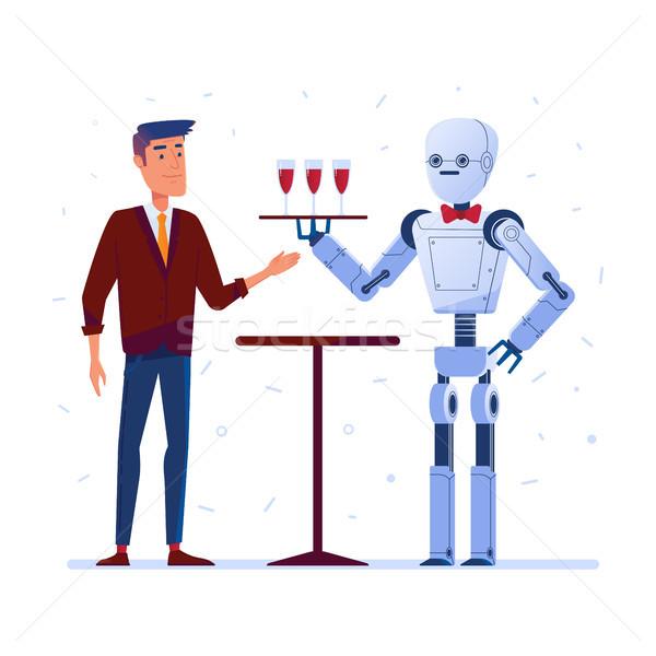 Robot waiter serves wine to a man Stock photo © RAStudio