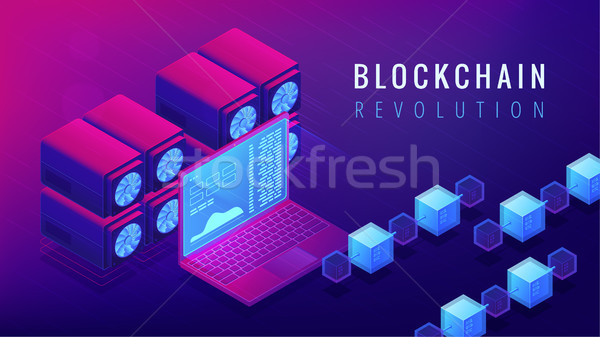 Isometric blockchain revolution concept. Stock photo © RAStudio