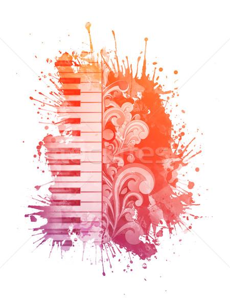 Vízfesték zongora folt izolált fehér művészet Stock fotó © RAStudio