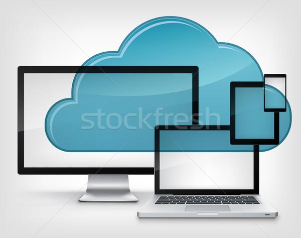 Nuvem serviço isolado cinza gradiente negócio Foto stock © RAStudio