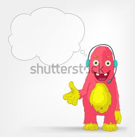 Stock foto: Funny · Monster · springen · Zeichentrickfigur · isoliert · grau