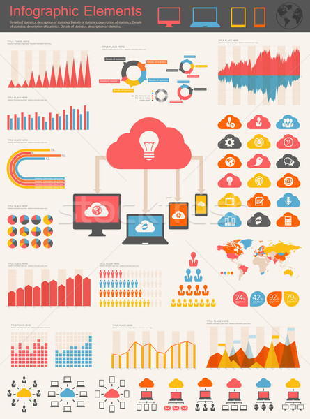 Cloud Service Infographic Elements Stock photo © RAStudio