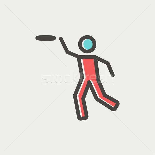 Man catching a flying disc thin line icon Stock photo © RAStudio