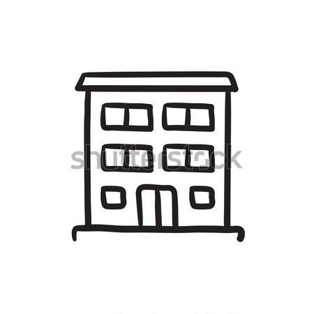 Ziekenhuis gebouw dun lijn icon web Stockfoto © RAStudio