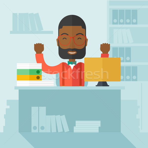 Very happy black businessman raising his both hands. Stock photo © RAStudio