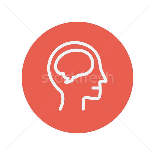 Umani testa cervello sottile line icona Foto d'archivio © RAStudio