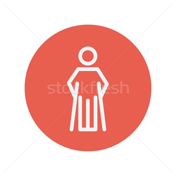 Herido hombre muletas delgado línea icono Foto stock © RAStudio