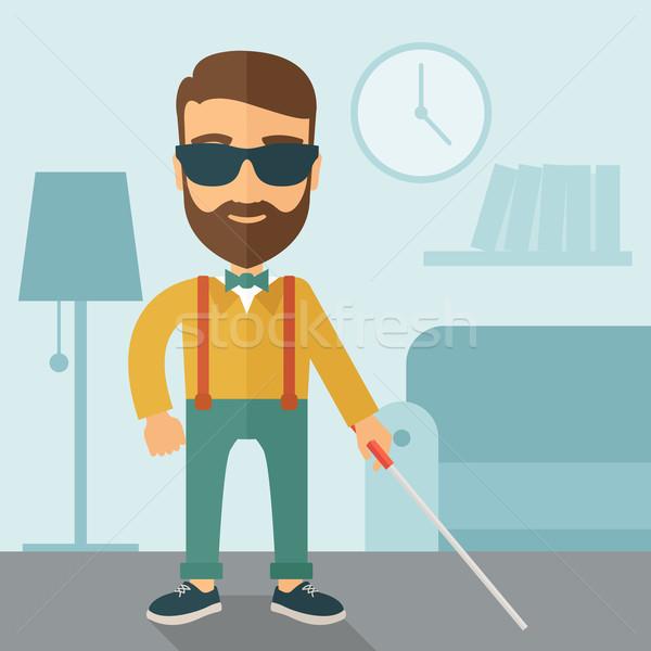 Niewidomych człowiek spaceru Stick wewnątrz Zdjęcia stock © RAStudio