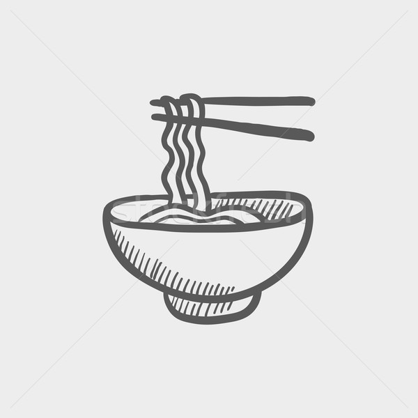 Bowl of noodles with a pair chopsticks sketch icon Stock photo © RAStudio