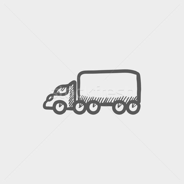 ładunku ciężarówka szkic ikona internetowych komórkowych Zdjęcia stock © RAStudio