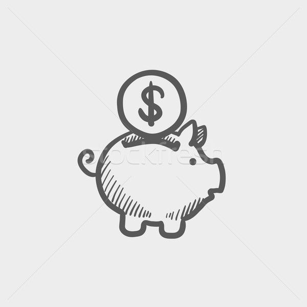 Piggy bank and dollar coin sketch icon Stock photo © RAStudio