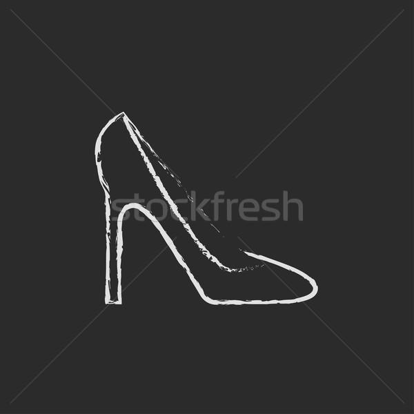 Ayakkabı ikon tebeşir tahta Stok fotoğraf © RAStudio