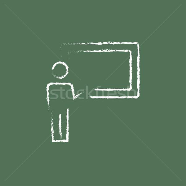 Stockfoto: Hoogleraar · Blackboard · icon · krijt