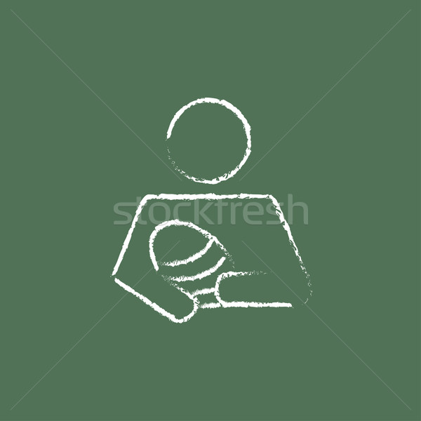 Nurse holding the baby icon drawn in chalk. Stock photo © RAStudio