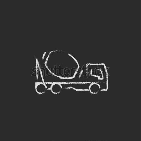 Concreto batedeira caminhão ícone giz Foto stock © RAStudio