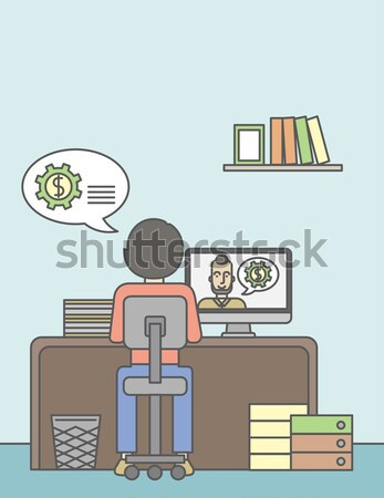 Iş adam oturma içinde ofis Stok fotoğraf © RAStudio