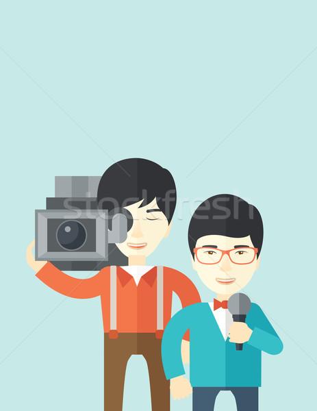 Tv verslag asian verslaggever vector Stockfoto © RAStudio