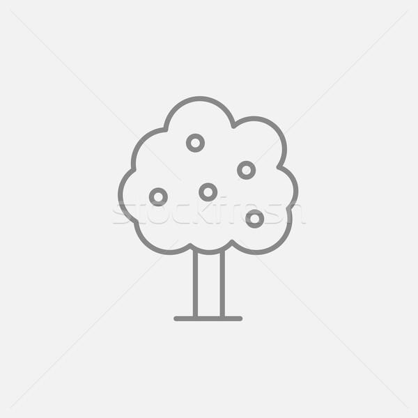 Stock fotó: Gyümölcsfa · vonal · ikon · háló · mobil · infografika