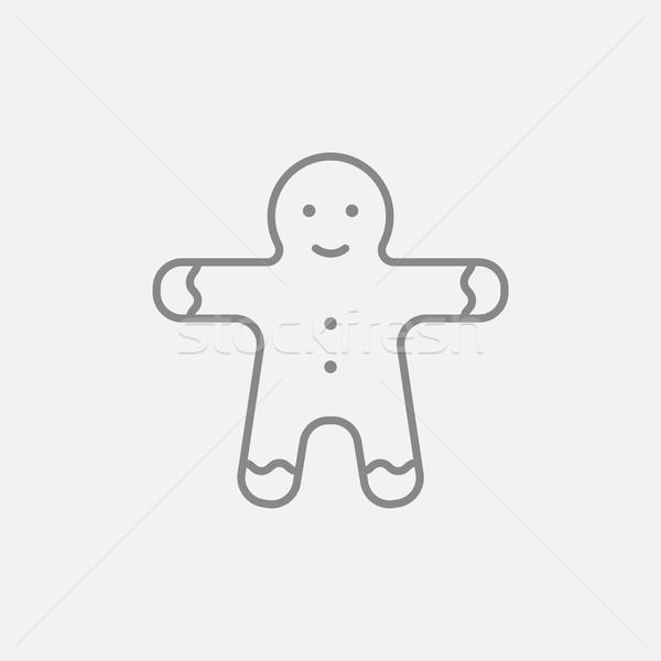 Gingerbread man ligne icône web mobiles infographie Photo stock © RAStudio