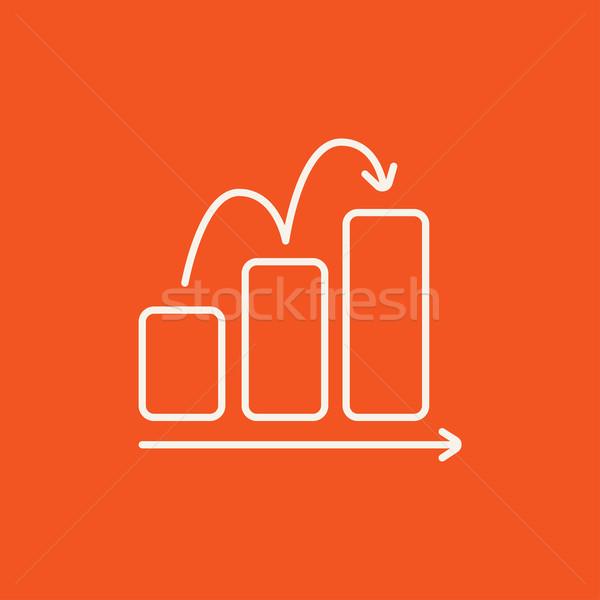 Foto stock: Gráfico · de · barras · linha · ícone · teia · móvel · infográficos