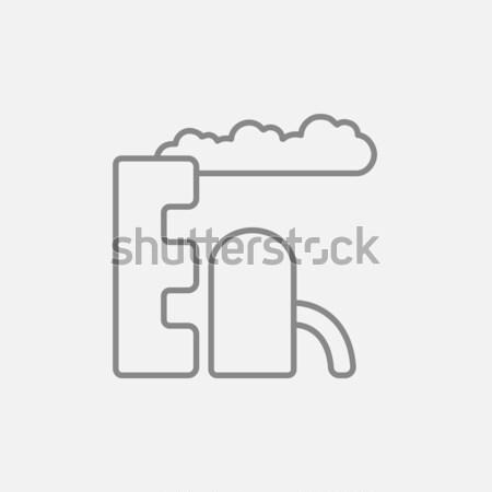 Refinaria planta linha ícone teia móvel Foto stock © RAStudio