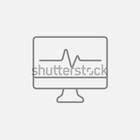 Сток-фото: сердцебиение · контроля · линия · икона · веб · мобильных