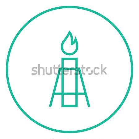 Benzin fellobbanás vonal ikon háló mobil Stock fotó © RAStudio