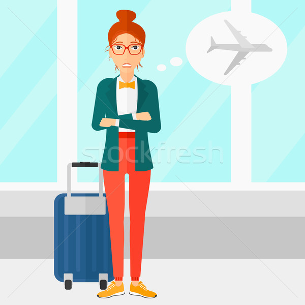 Mujer asustado futuro vuelo aeropuerto vector Foto stock © RAStudio