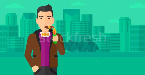 человека курение сигару современных город вектора Сток-фото © RAStudio