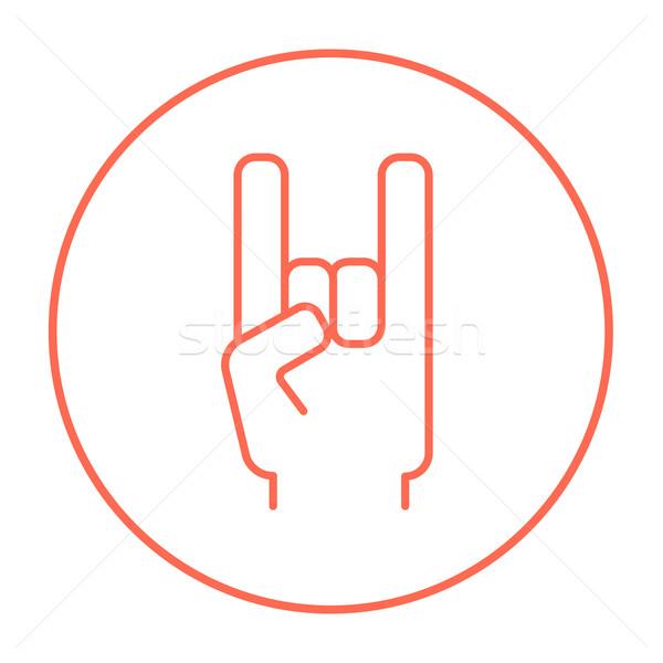 Rock and roll hand sign line icon. Stock photo © RAStudio